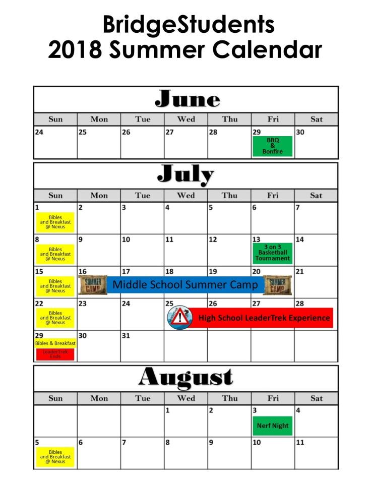 Summer calendar 2018 web