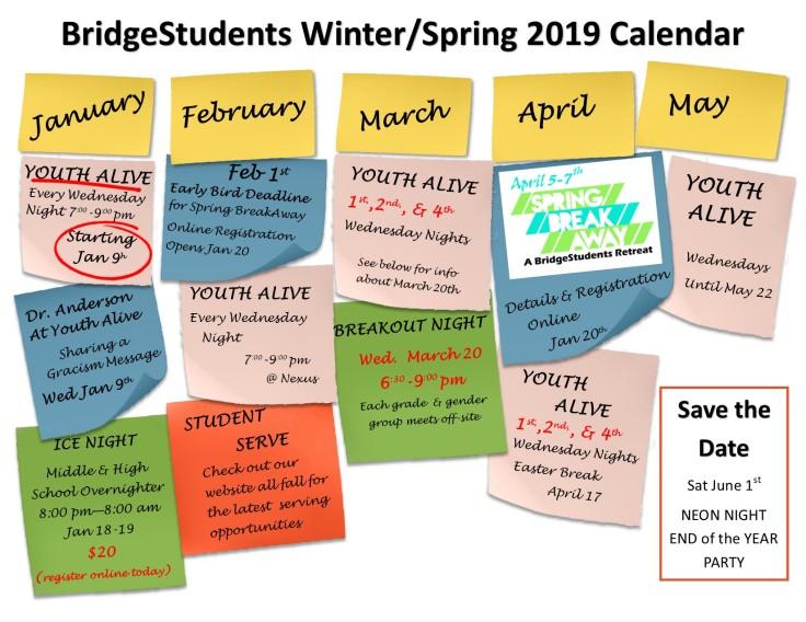 spring calendar 2019 website